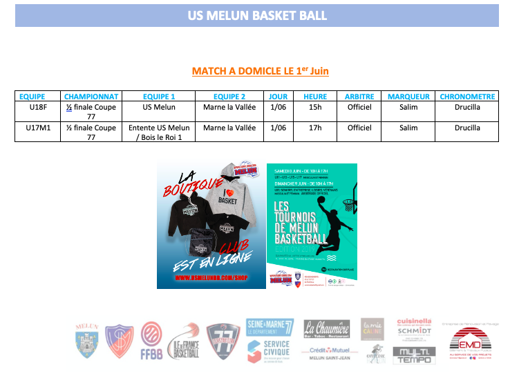 WEEK END DU 1ER JUIN 1/2 FINALE COUPE 77 U17M/U18F